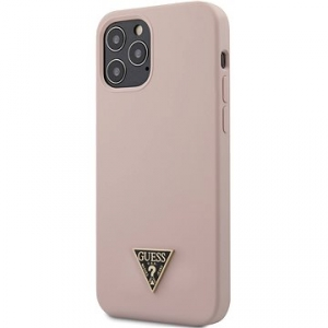 Kryt na mobil Guess Silicone Metal Triangle na Apple iPhone 12/12 Pro (GUHCP12MLSTMLP) ružový